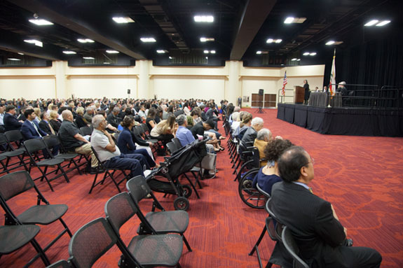 About 145 soon-to-be members of the State Bar and their families wait at a convention hall in Oakland to take their oaths. <em>Photo by S. Todd Rogers</em>