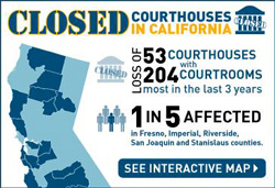 graphic closed courthouses in California